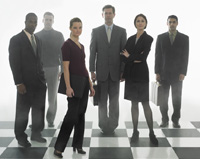 Businesspeople on Chess Board